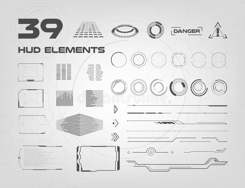 Reeks zwart-witte elementen van HUD UI voor zaken app Head-up vertoningselementen voor het Web en app Futuristische gebruiker vector illustratie