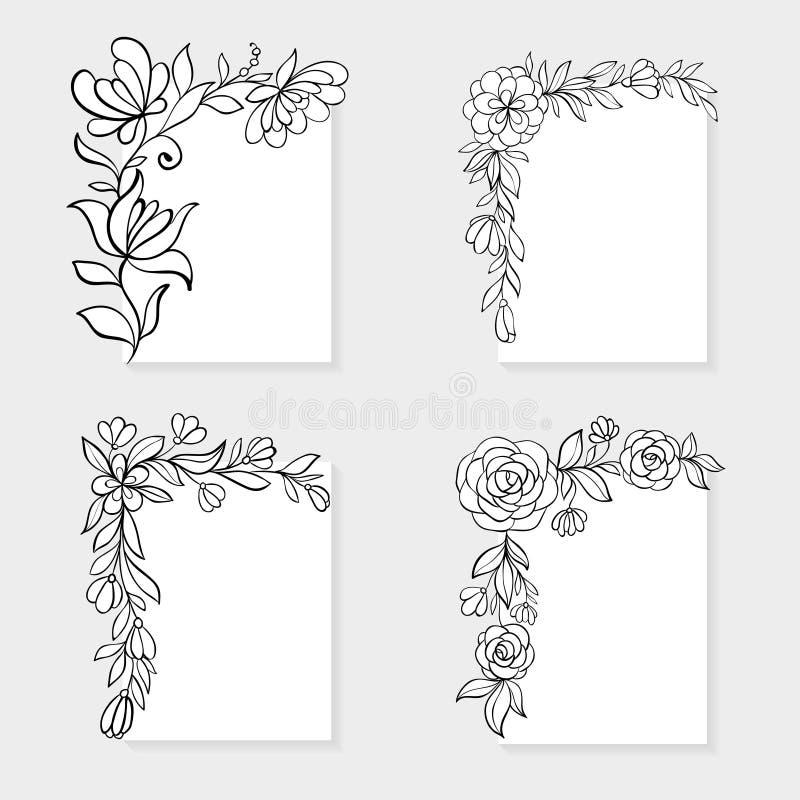 Reeks zwart-witte hand getrokken hoek bloemengrenzen royalty-vrije illustratie