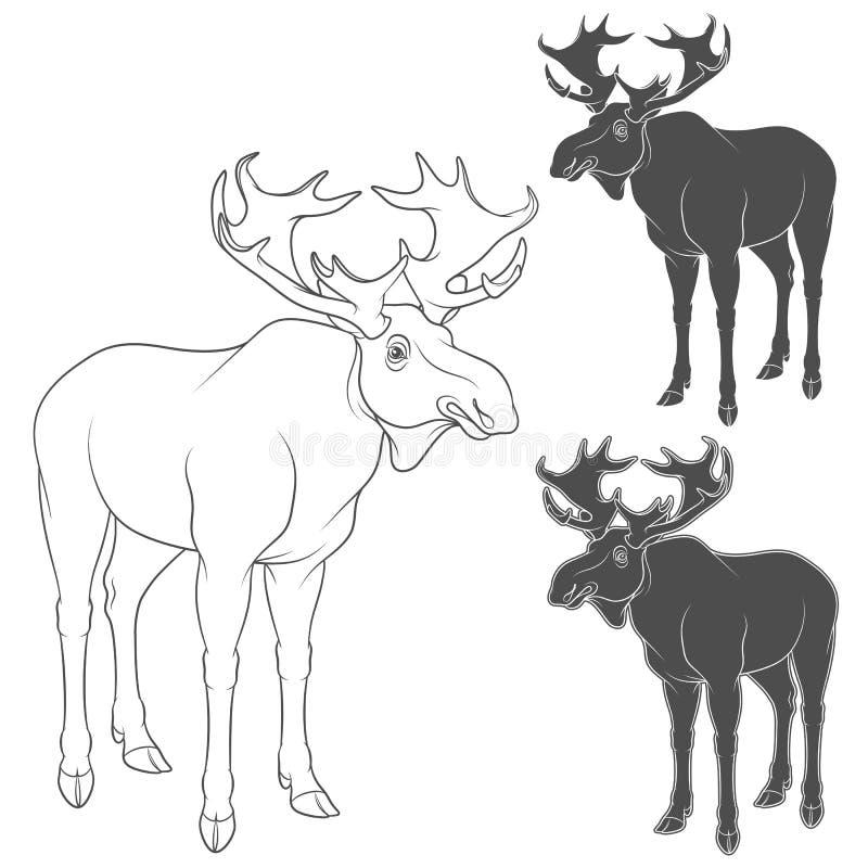 Reeks zwart-witte illustraties met Amerikaanse elanden, elanden Geïsoleerde vectorvoorwerpen royalty-vrije illustratie