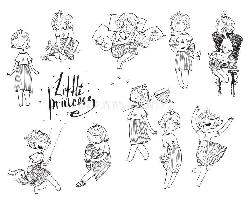 Reeks zwart-witte meisjes met kroon op hoofd Speelse leuke prinses, prethand getrokken illustraties Diverse emoties en vector illustratie
