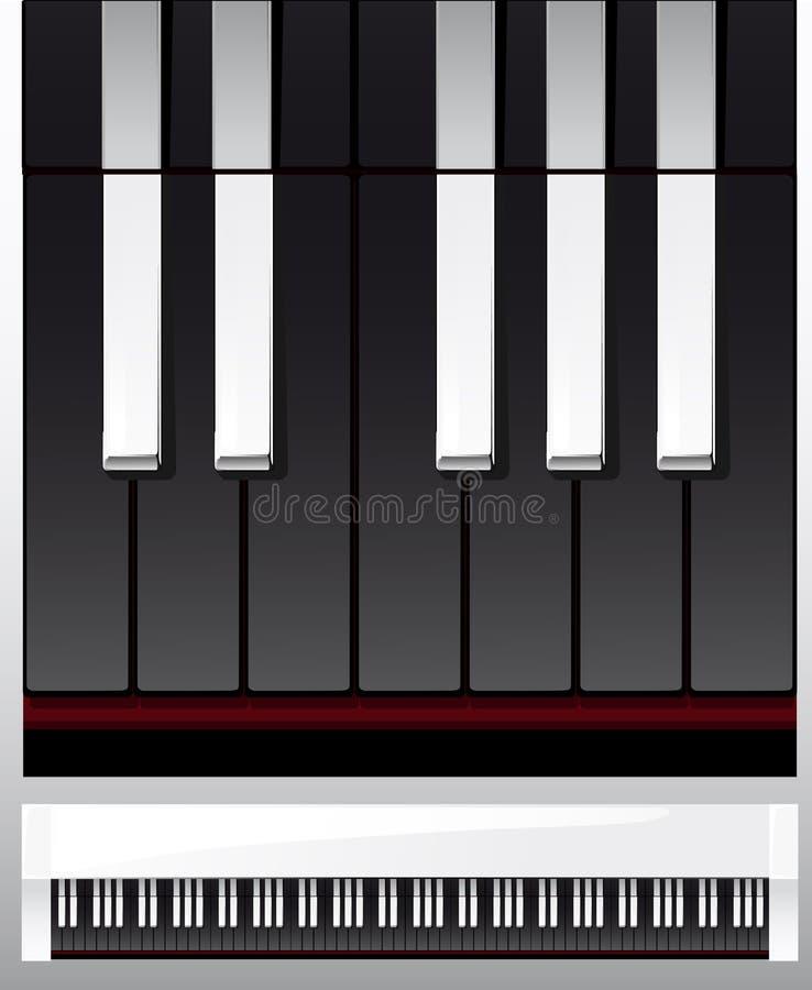 Reeks zwart-witte pianosleutels in illustratie, stock illustratie
