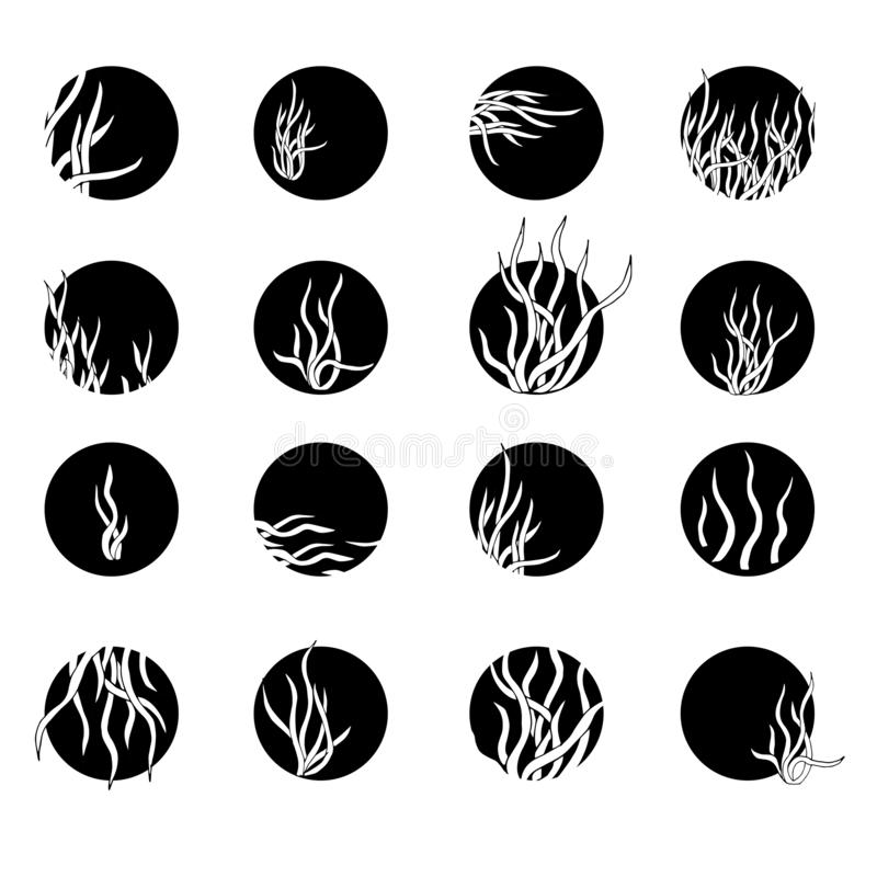 Reeks zwart-witte pictogrammen en kentekens Overzichtstekening, schets, die door inkt wordt getrokken Overzicht van vector bloeme stock illustratie