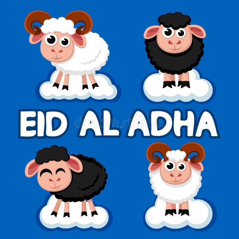 Reeks zwart-witte schapen op de wolken De Moslimvakantie Eid al-Adha royalty-vrije illustratie