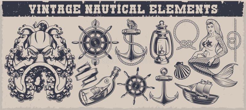 Reeks zwart-witte uitstekende zeevaartelementen stock illustratie