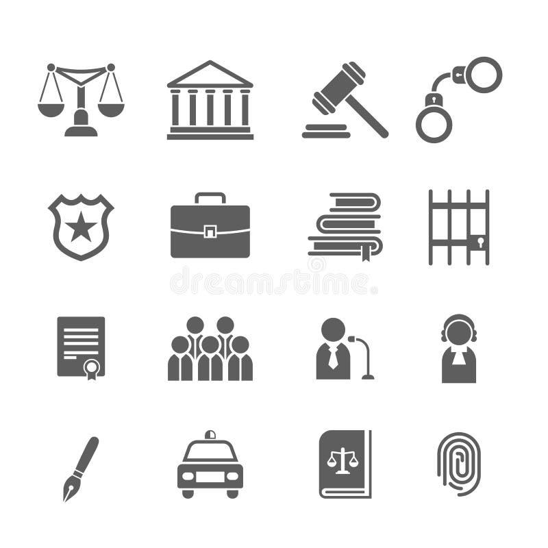 Reeks zwart-witte wet en rechtvaardigheidspictogrammen Rechter, hamer, advocaat, schalenhof, jury, sheriffs, ster, wetsboeken stock illustratie