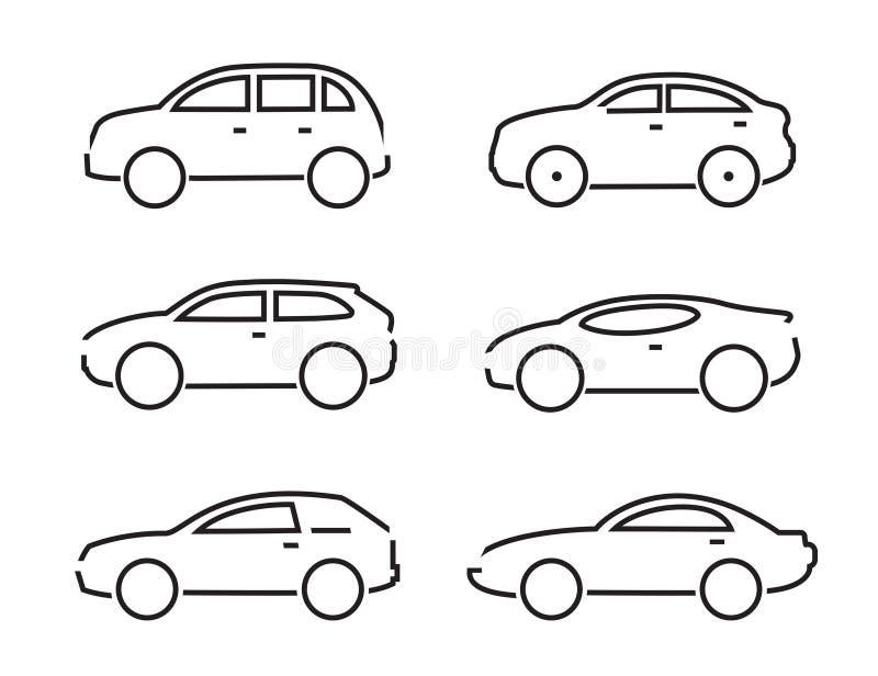Reeks zwarte auto'spictogrammen - Illustratievoorraad royalty-vrije illustratie