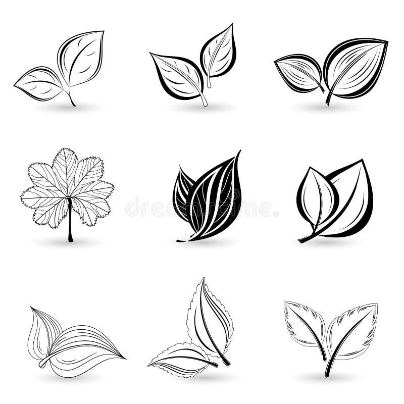 Reeks zwarte bladeren royalty-vrije illustratie