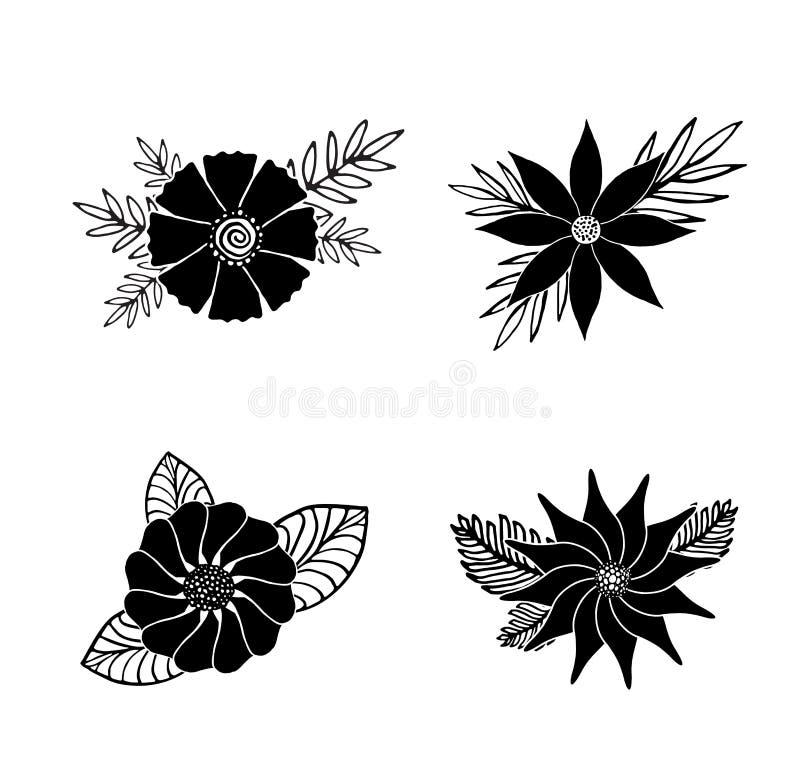 Reeks zwarte de zomer hand-drawn bloemen met bladeren stock illustratie