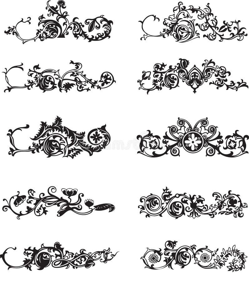 Reeks zwarte decoratieve elementen vector illustratie