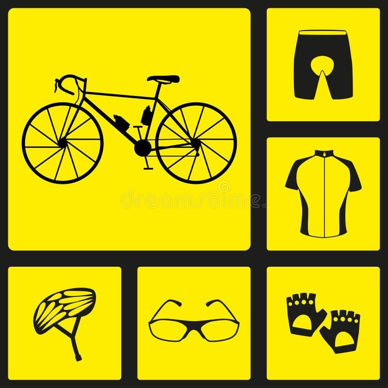 Reeks zwarte eenvormige silhouetpictogrammen van fiets Zes fietspictogrammen, infographic elementen Vector illustratie Th van het royalty-vrije illustratie