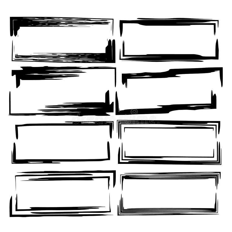 Reeks zwarte empy grungekaders Vector illustratie royalty-vrije illustratie