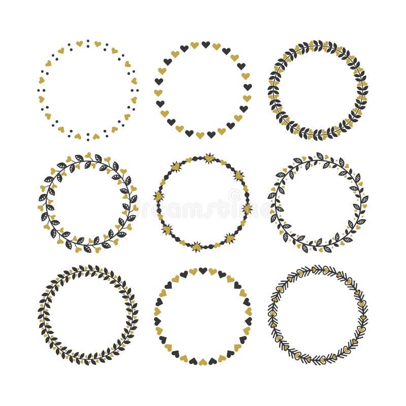 Reeks zwarte en gouden cirkelemblemen met de patronenzegels van de hart decoratieve grens en en geplaatste ontwerpelementen vector illustratie