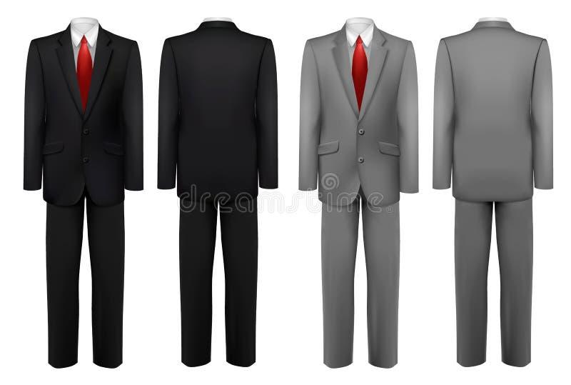 Reeks zwarte en grijze kostuums royalty-vrije illustratie