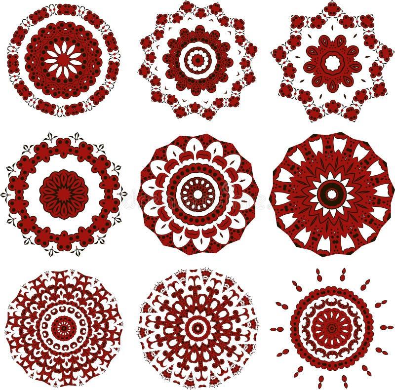 Reeks zwarte en rode mandalas stock illustratie