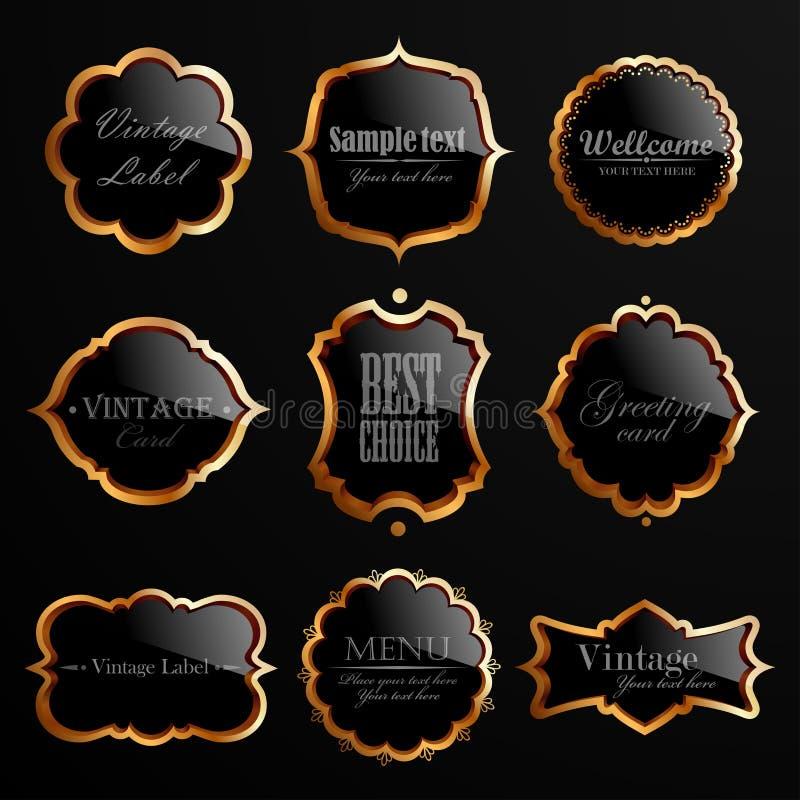 Reeks zwarte gouden etiketten. vector illustratie