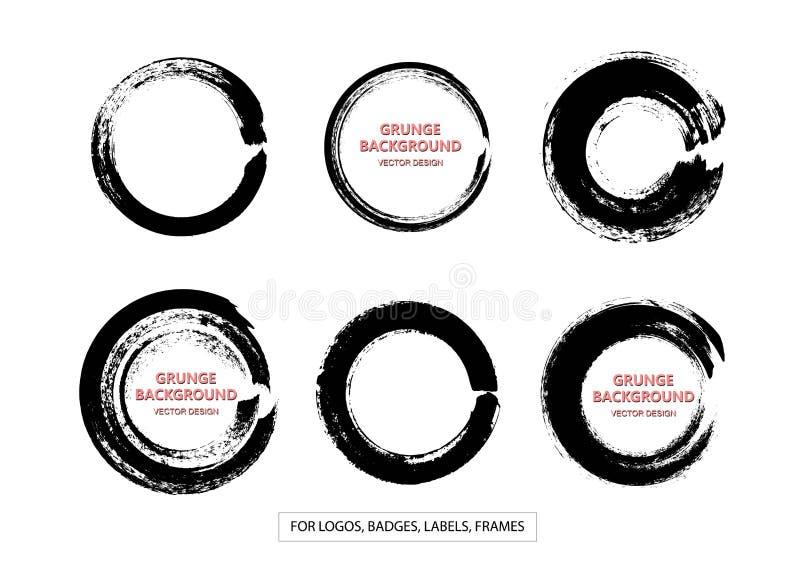 Reeks Zwarte Grunge-Cirkelvlekken, Vormen Vector illustratie Hand Getrokken Enso Zen Ink Circles Collection stock illustratie