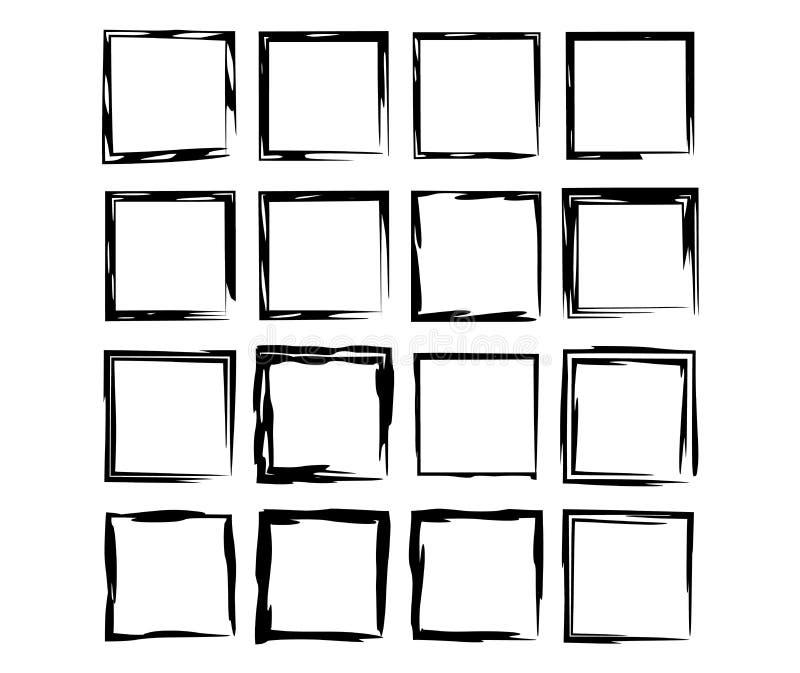 Reeks zwarte kaders van rechthoek empy grunge Vector illustratie vector illustratie
