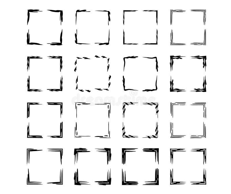 Reeks zwarte kaders van rechthoek empy grunge Vector illustratie stock illustratie