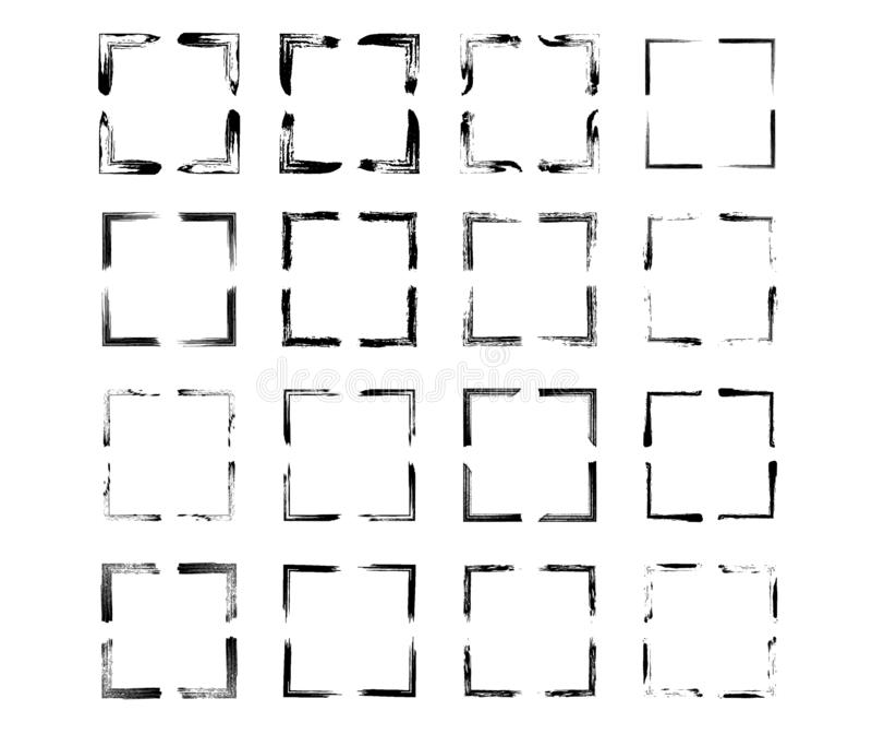 Reeks zwarte kaders van rechthoek empy grunge Vector illustratie royalty-vrije illustratie