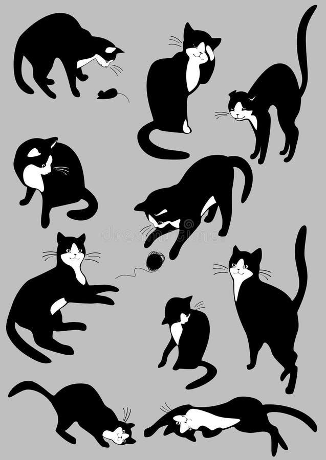 Reeks zwarte katten vector illustratie