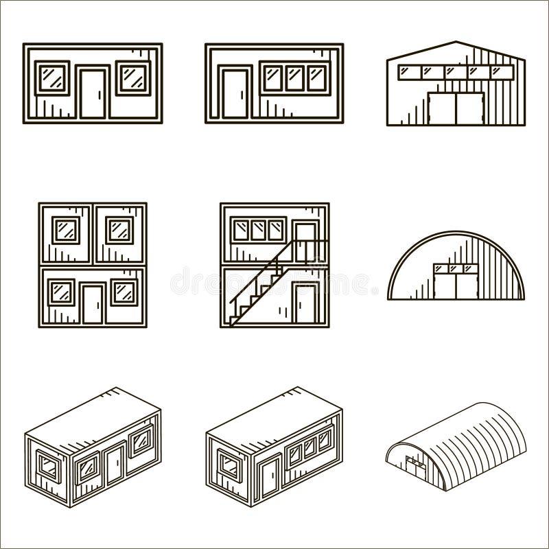 Reeks zwarte lijn vectorpictogrammen voor modulaire gebouwen op wit stock illustratie