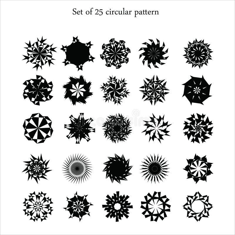 reeks zwarte ornamenten op witte achtergrond, geometrische patronen, sneeuwvlokken royalty-vrije illustratie