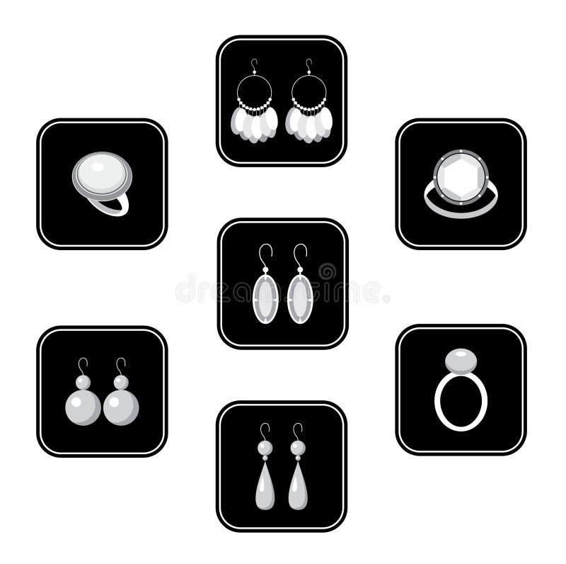 Reeks zwarte pictogrammen met juwelen stock illustratie