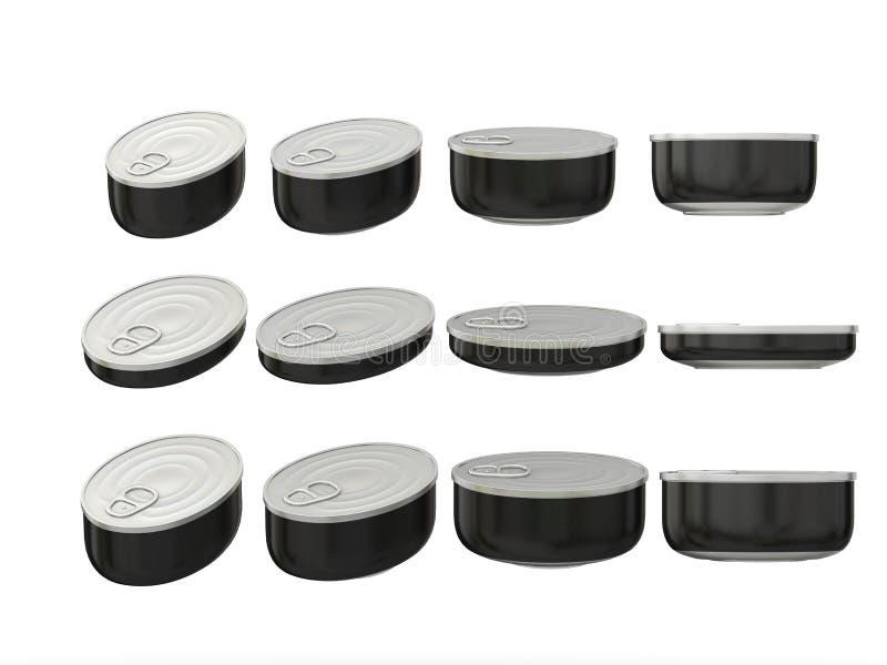 Reeks zwarte ronde blikken van het bodem ovale tin in diverse grootte, clippi royalty-vrije illustratie