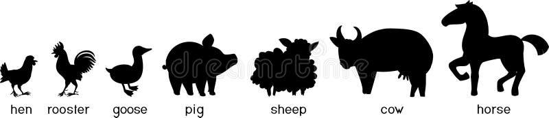 Reeks zwarte silhouetten van de verschillende dieren van het beeldverhaallandbouwbedrijf met titels op witte achtergrond stock illustratie