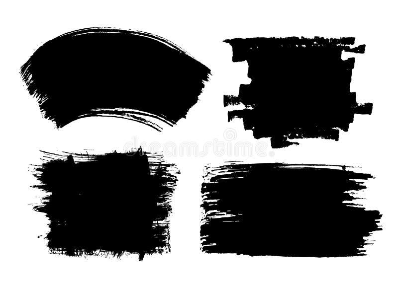 Reeks zwarte slagen van de inktborstel vector illustratie