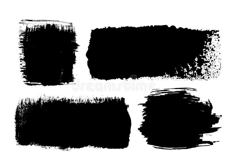 Reeks zwarte slagen van de inktborstel royalty-vrije illustratie