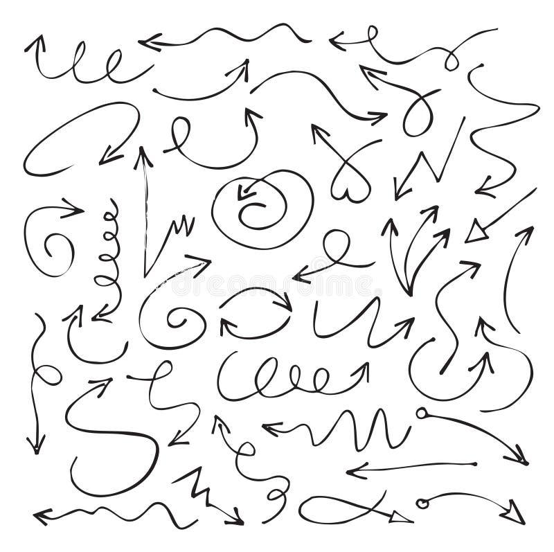 Reeks zwarte tekeningspijlen Vector illustratie vector illustratie