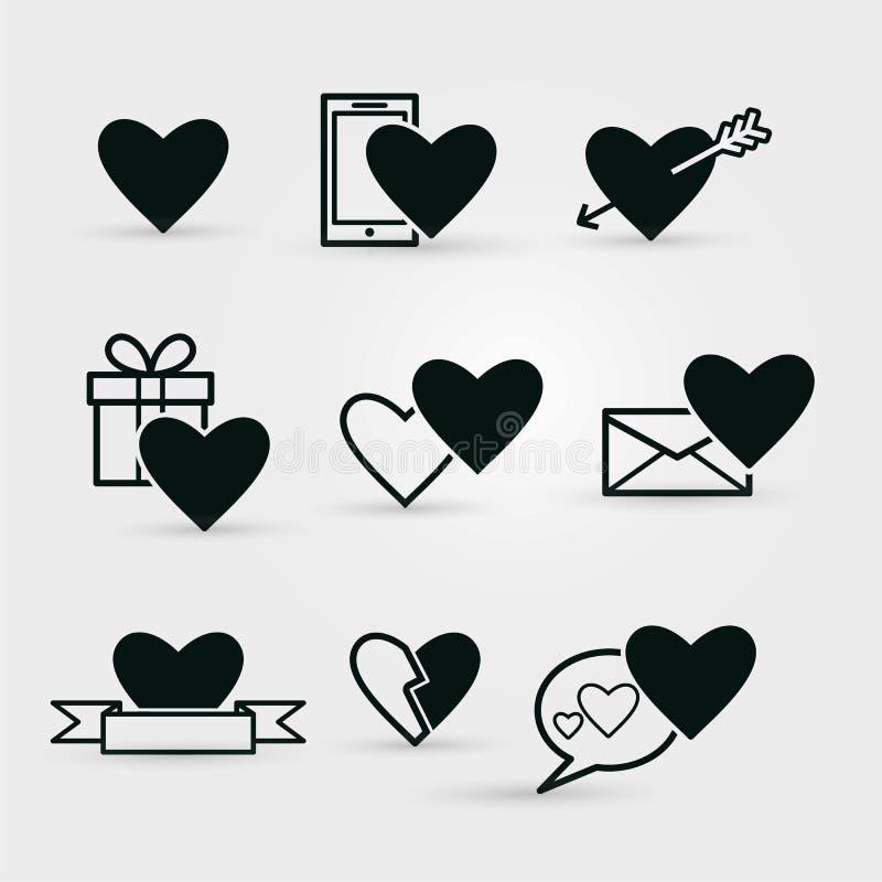 Reeks zwarte Valentijnskaartenpictogrammen op witte achtergrond royalty-vrije stock foto