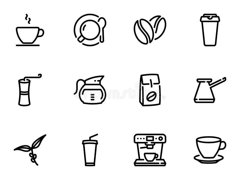 Reeks zwarte vectorpictogrammen, die tegen witte achtergrond wordt geïsoleerd Illustratie op een themakoffie stock illustratie