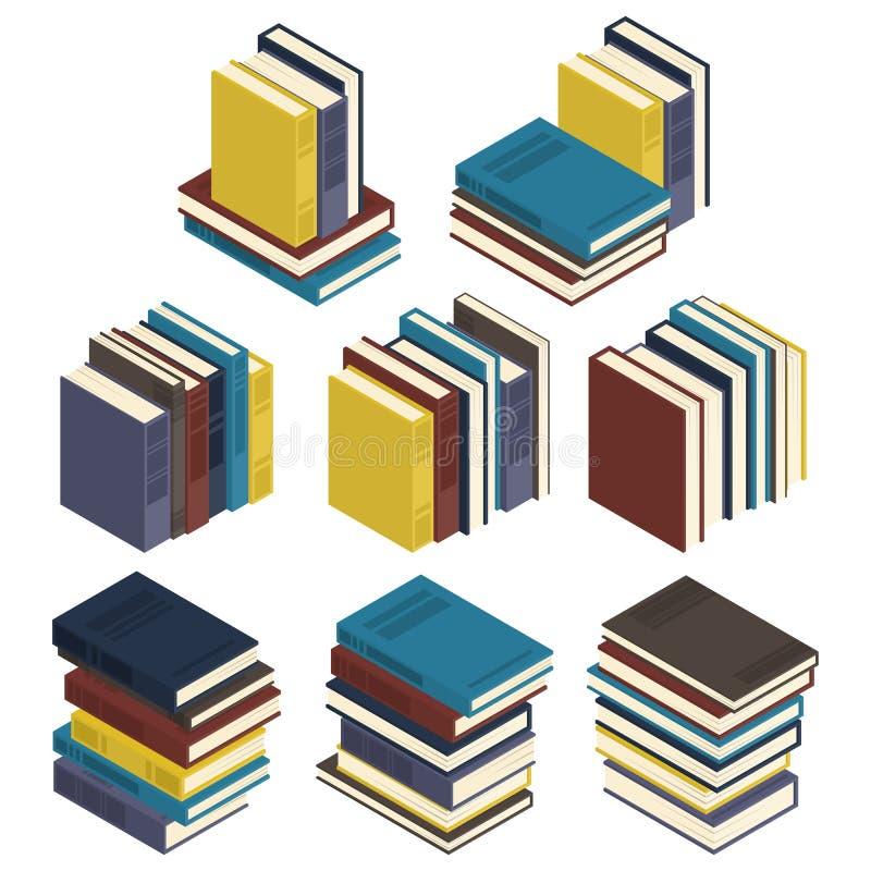 8 reeksen isometrische die boeken op een witte achtergrond worden geïsoleerd royalty-vrije illustratie