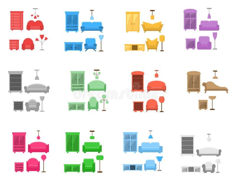 12 reeksen van furnitur in verschillende stijlen, vlak pictogram vector illustratie