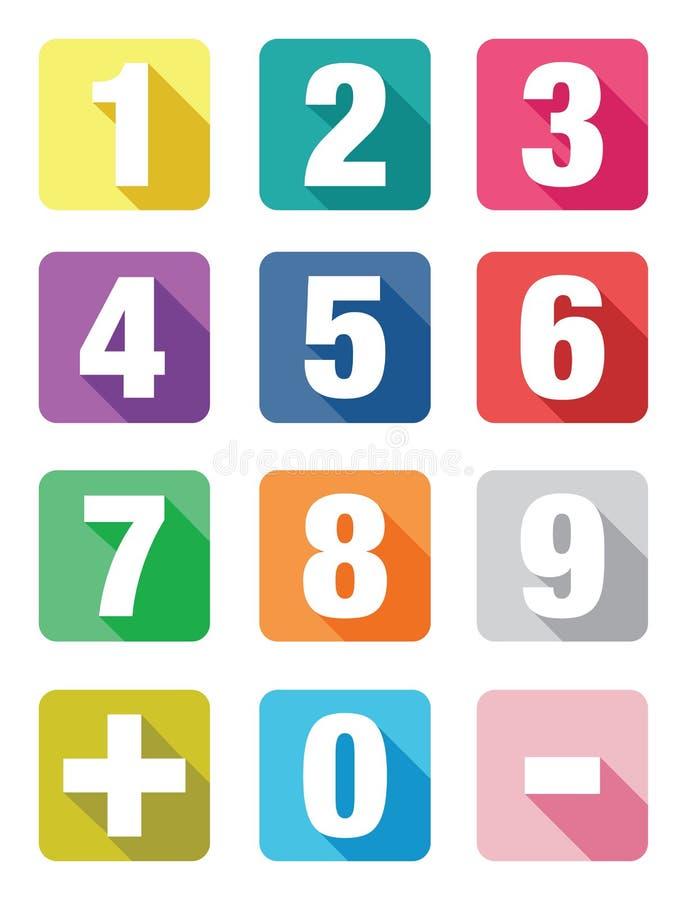 Reeksen van het aantal de vlakke pictogram stock illustratie