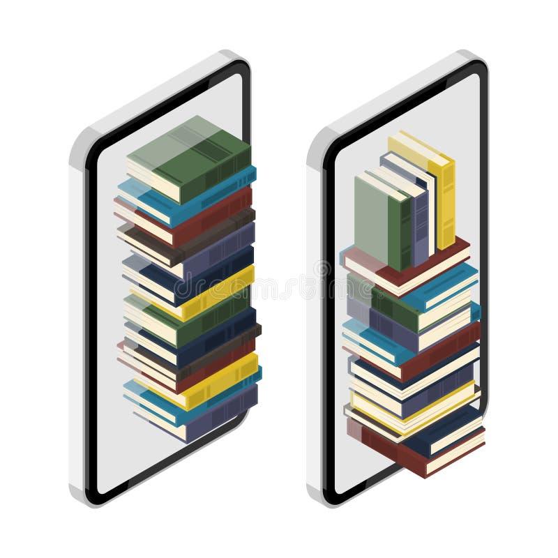 2 reeksen van isometrische smartphonecellphone met stapel boeken i vector illustratie