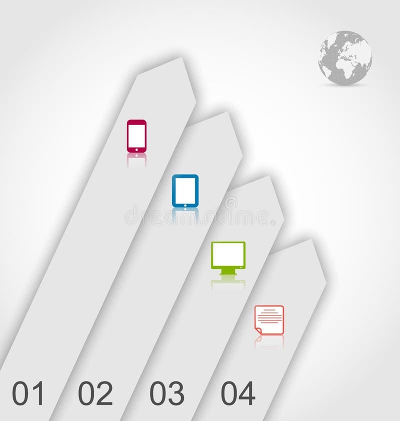 Reeksetiketten met eenvoudige gadgets infographic pictogrammen vector illustratie