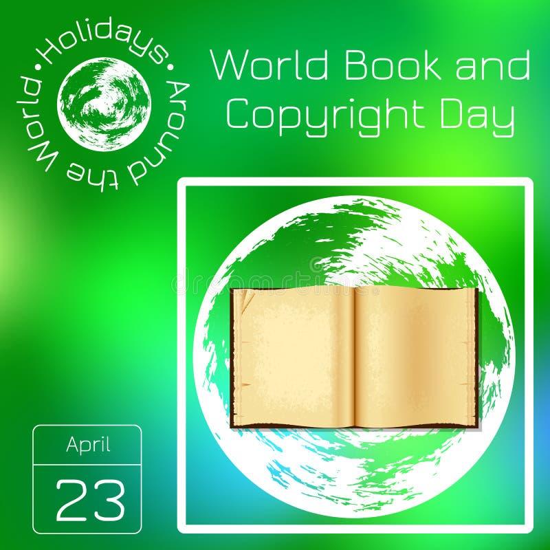 Reekskalender Vakantie rond de Wereld Gebeurtenis van elke dag van het jaar Het boek van de wereld en auteursrechtdag stock illustratie