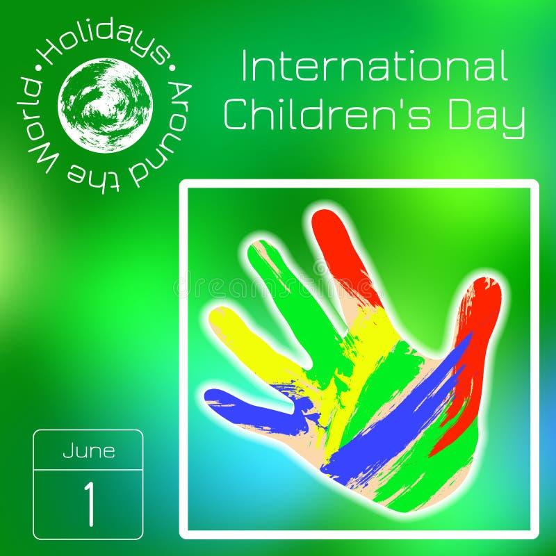 Reekskalender Vakantie rond de Wereld Gebeurtenis van elke dag van het jaar De dag van internationale kinderen De palmen van kind stock illustratie