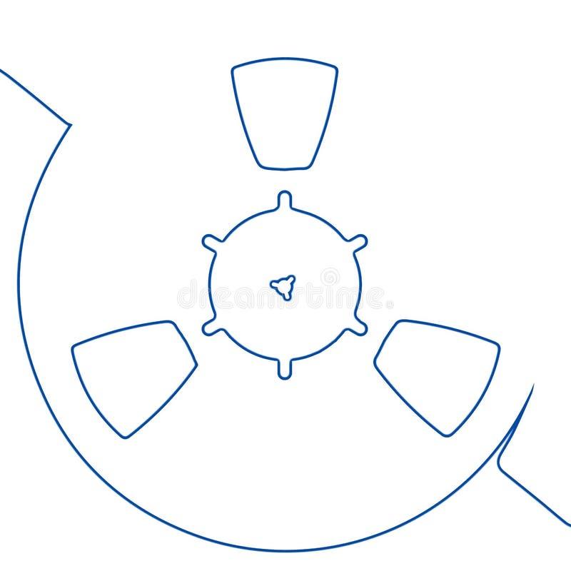 Reel of Audio Tape Outline. A reel of audi recording tape in blue outline vector illustration