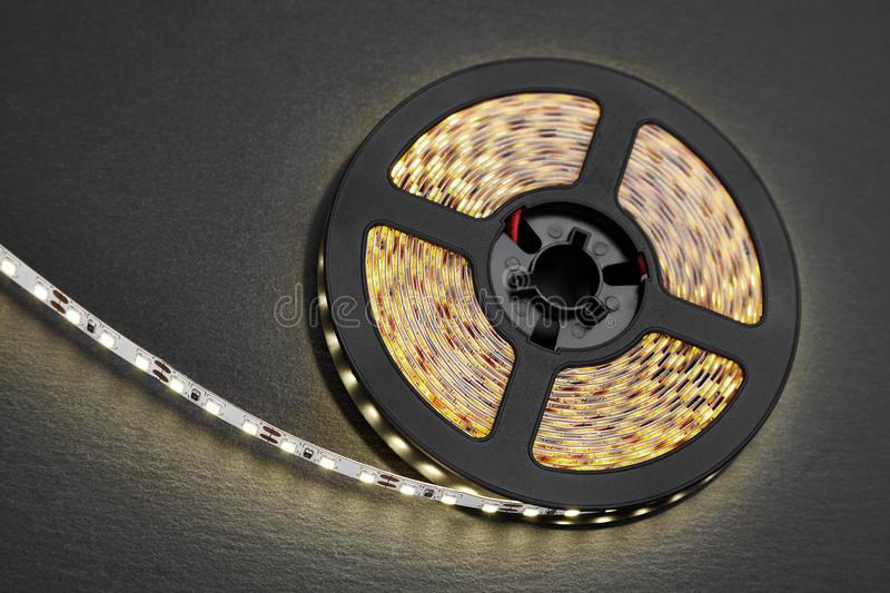 Reel of a diode strip with warm light stock photo