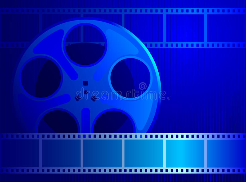 Reel with film into a blue background. Background for the cinema industry. Reel with film into a blue background stock illustration