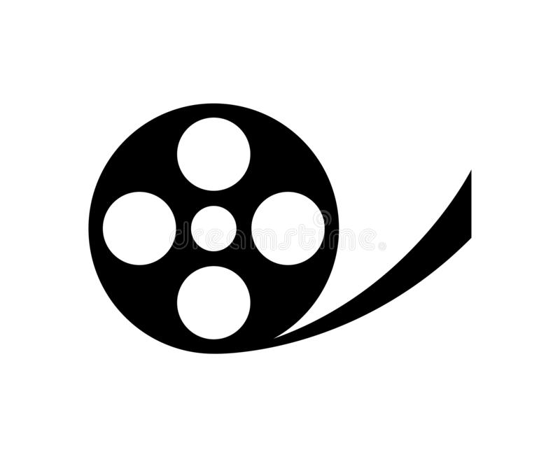 Reel of film isolated on white. Simple, black and minimal vector illustration of a reel of film isolated on white royalty free illustration
