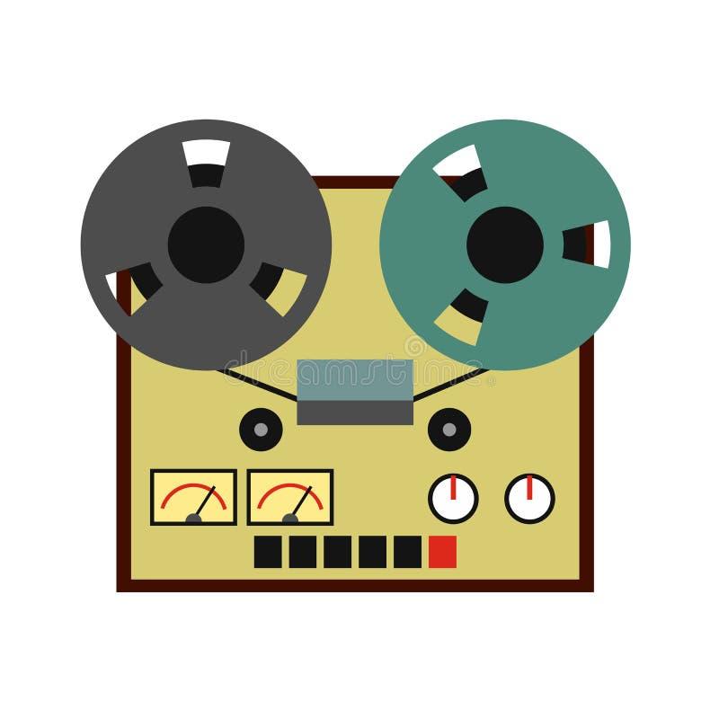 Reel tape recorder flat icon royalty free illustration