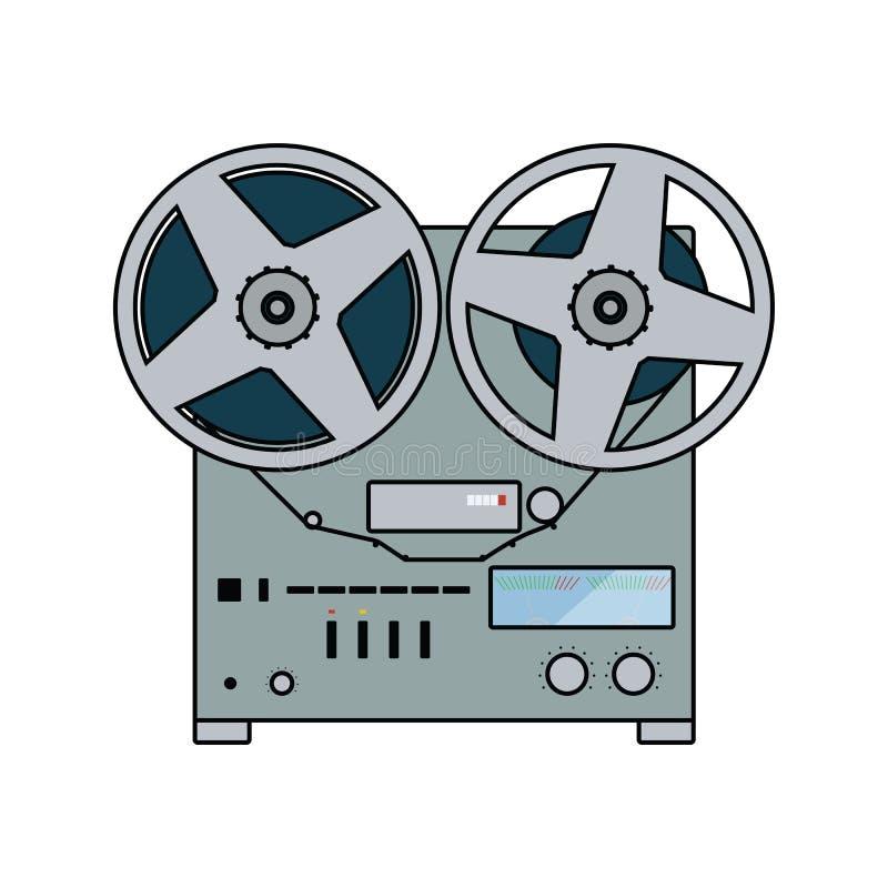Reel tape recorder icon. Flat color design. Vector illustration vector illustration