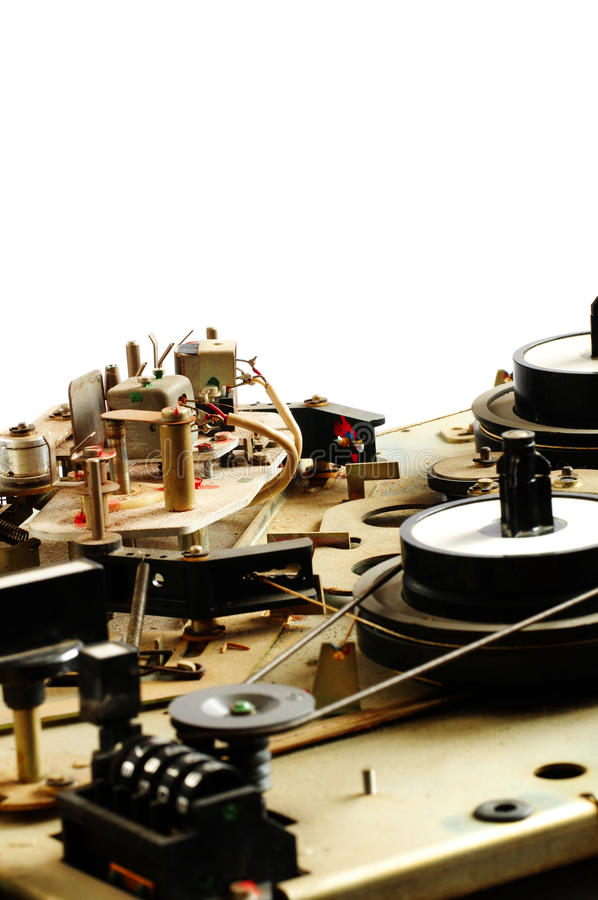 Reel tape recorder mechanism vintage stock photography