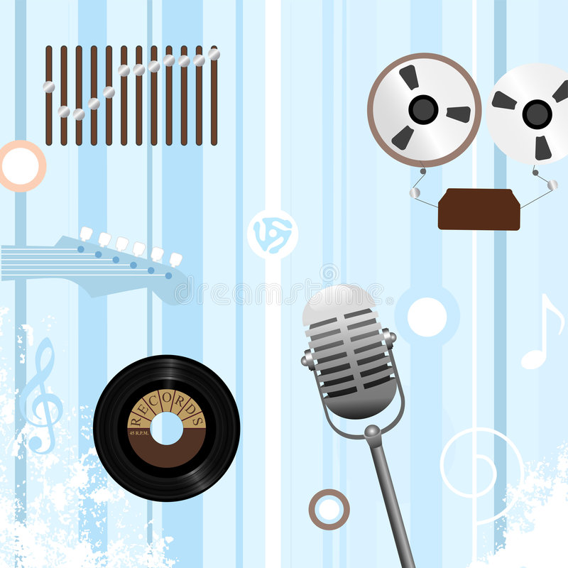 Reel to Record Retro Music Bkg royalty free illustration