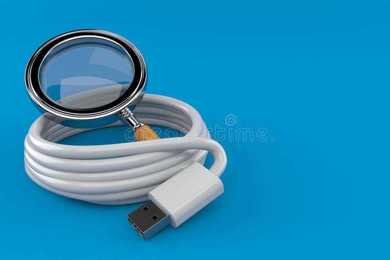 Reel of USB cable with magnifying glass. Isolated on blue background. 3d illustration royalty free illustration
